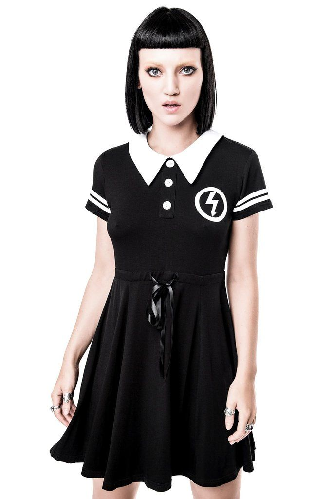 NOT A DOLL. KILLSTAR x MARILYN MANSON Collab Collection. - Soft Touch Jersey Fabric.- Contrast Collar.- Printed.- Ribbon Waist + Zip Back.- Fitted. 'Schoolgirls