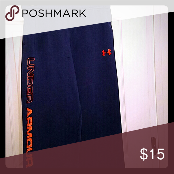 Under Armour athletic pants Under Armour athletic pants in good condition draw string waste there is a small place in front where embers from the campfire made a small spot (see additional photos) Under Armour Bottoms Sweatpants & Joggers