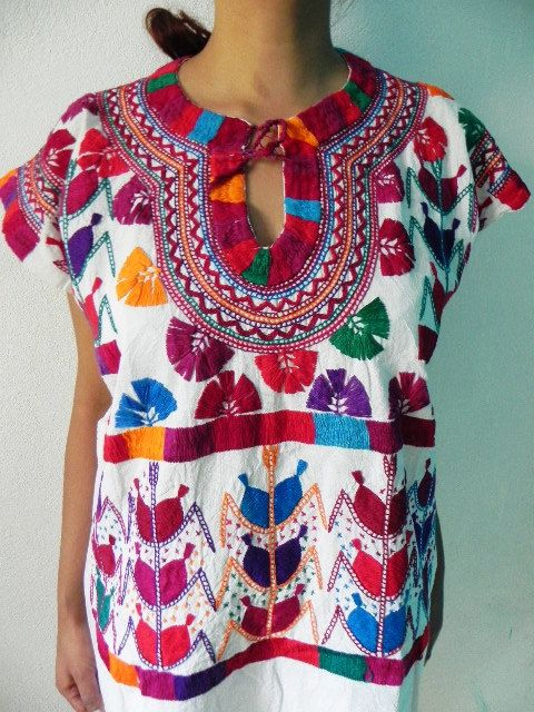 Mexican Top Blouse Fantastic Amazing Colorful Embroidered ...