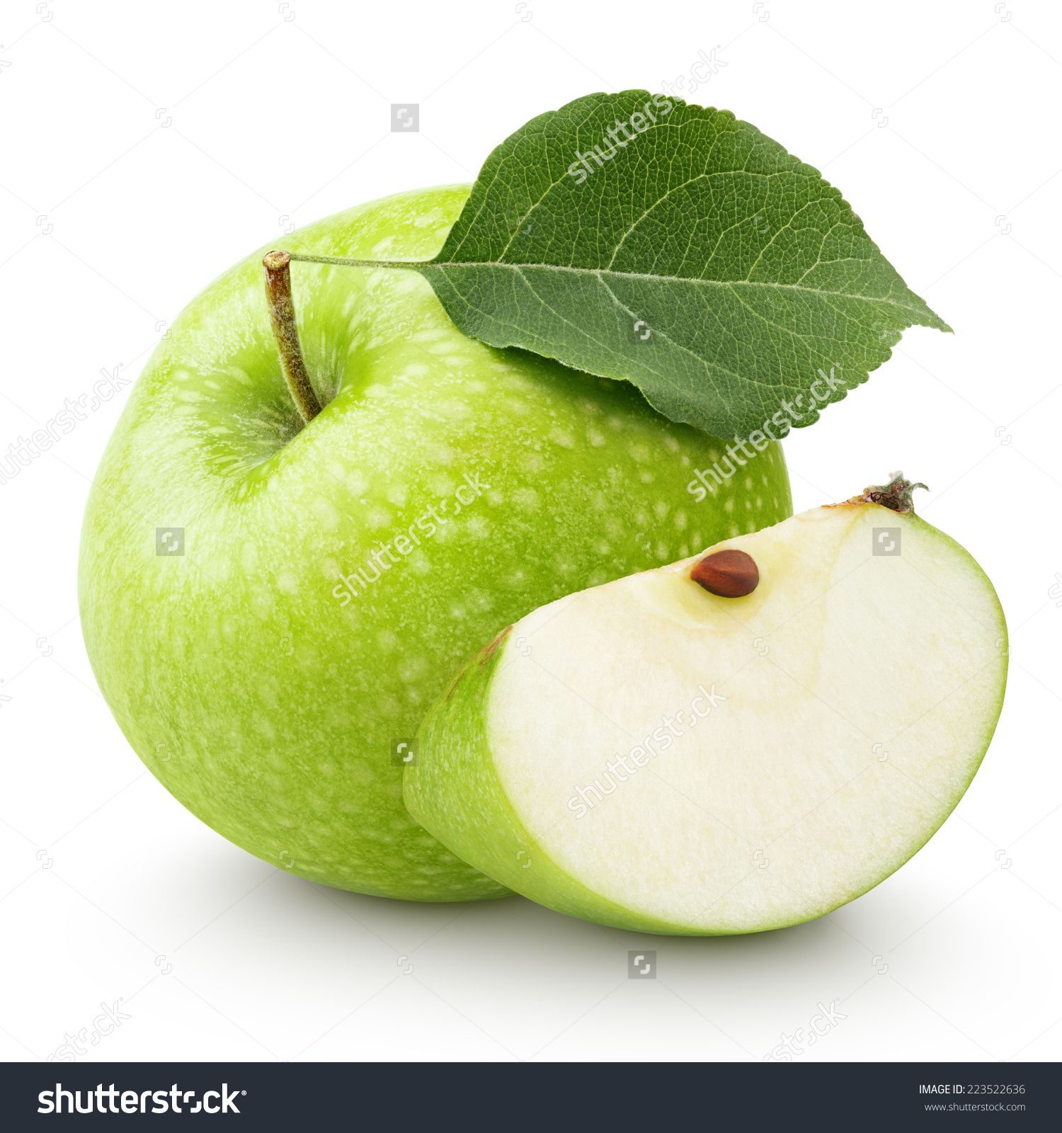 Ripe Green Apple With Leaf And Slice Isolated On A White Background With Clipping Path Stock Photo 223522636 Shut Green Apple Fruits Photos Fruit Photography