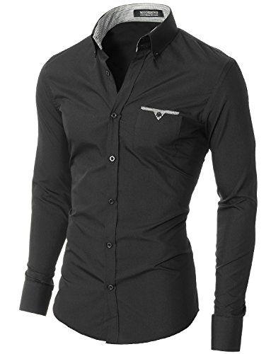 MODERNO – Mens Slim Fit Long Sleeve Casual Shirt (VGD063LS) Black US ... 4f50baa9560