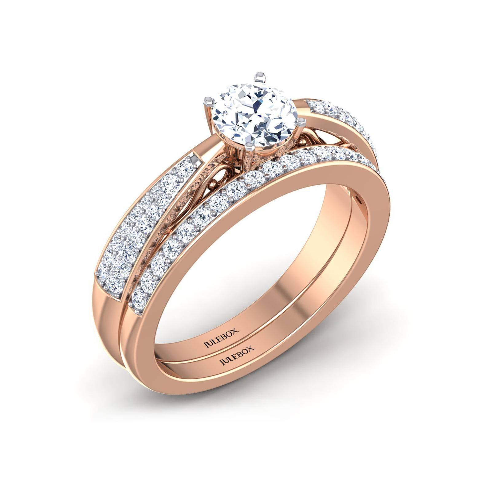 Womens Wedding Ring, Ladies Rose Gold Bridal Ring Set