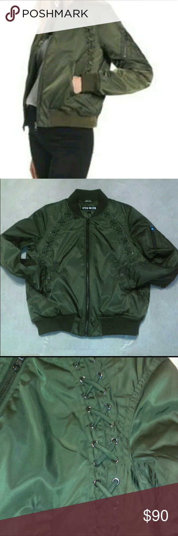 huge selection of bf98b fa57f Steve Madden Satin Lace Detail Bomber Jacket Coat Steve ...