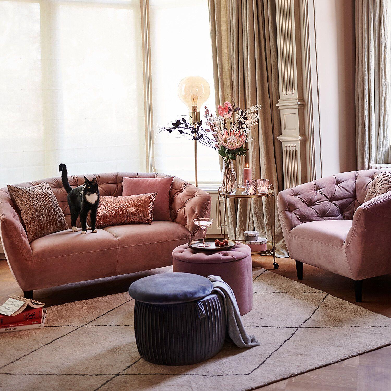 Servierwagen, D45cm x H66cm, gold Samt sofa, Haus deko
