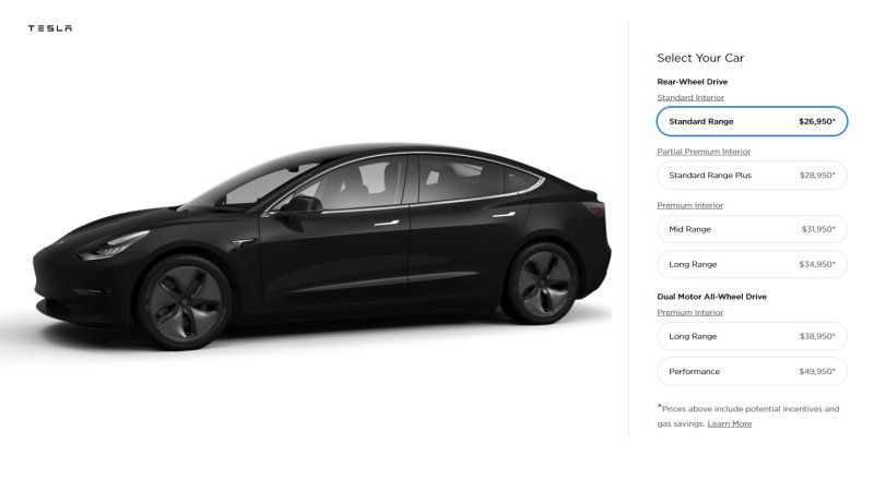 Standard And Optional Features On The 35 000 Tesla Model 3 Tesla Model Tesla Sedan Tesla