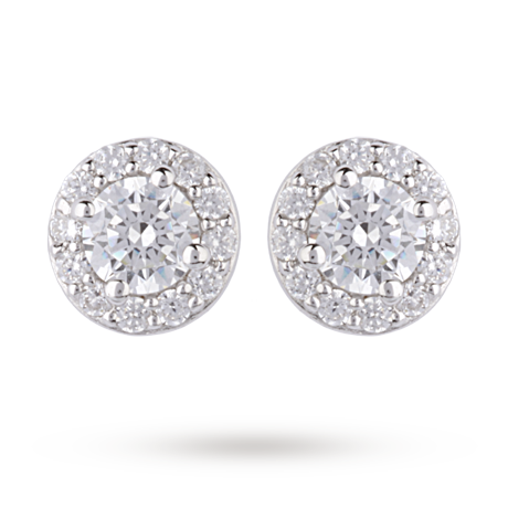 For Her 9ct White Gold Cubic Zirconia Halo Stud Earrings