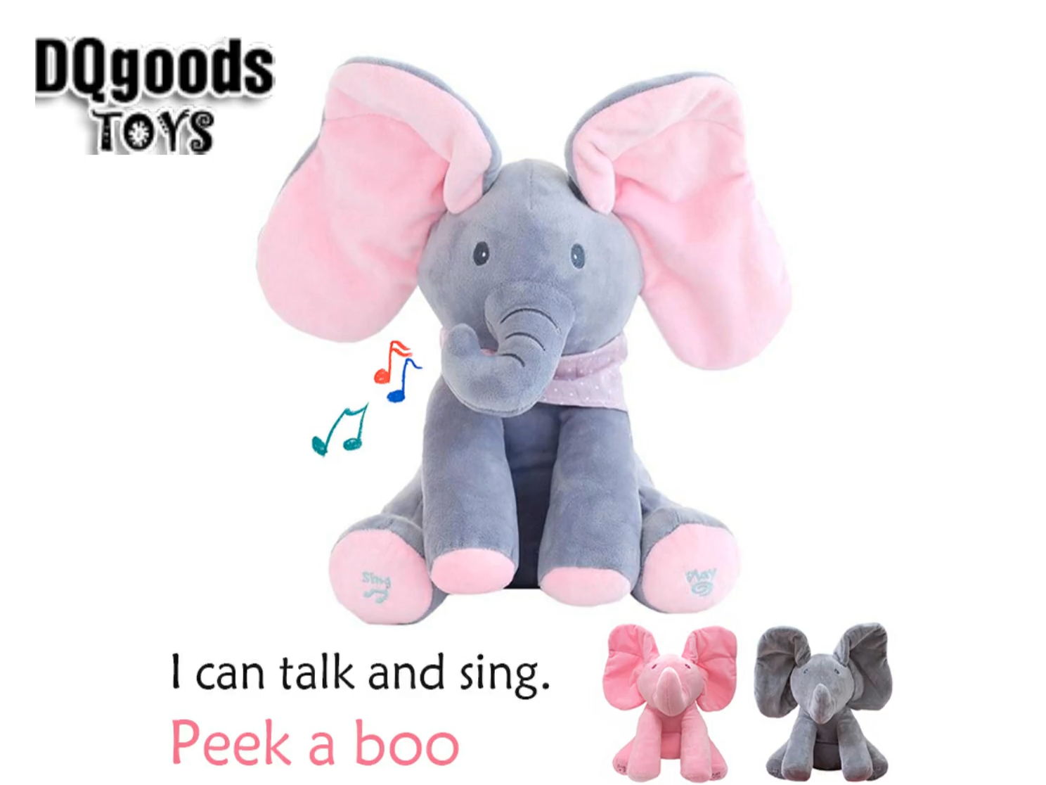 Peek-A-BOO Talking Singing Elephant Music Doll Plush Toy Stuffed Kids Toys Gifts
