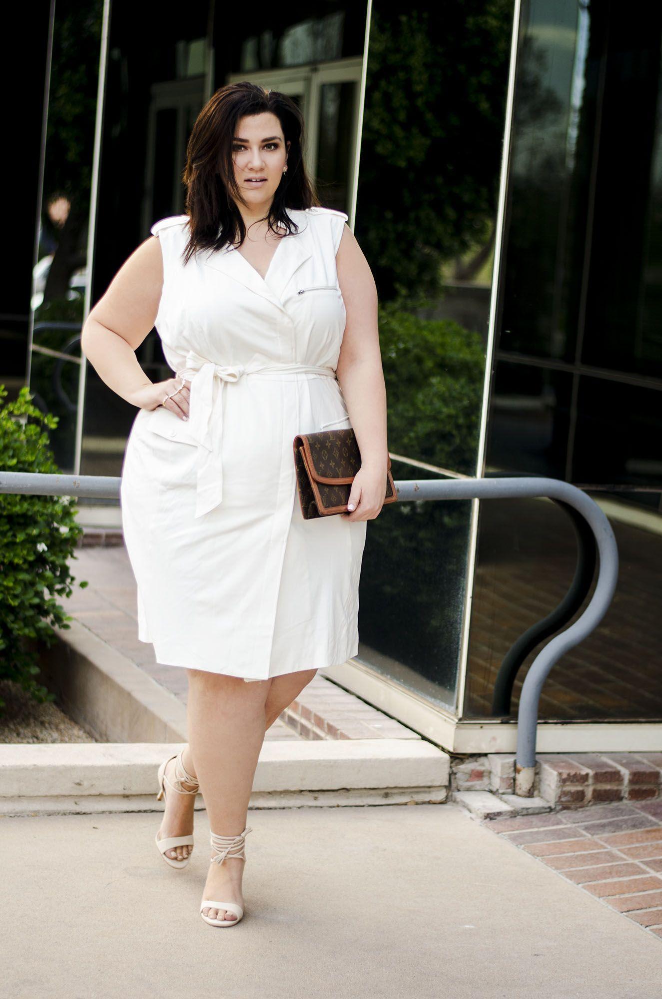 Plus Size White Dress Moto Dress Affordable Fashion To Figure