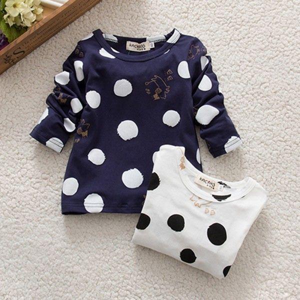 Bambini delle neonate dei ragazzi unisex polka dots manica lunga top t-shirt di cotone di base tees abbigliamento