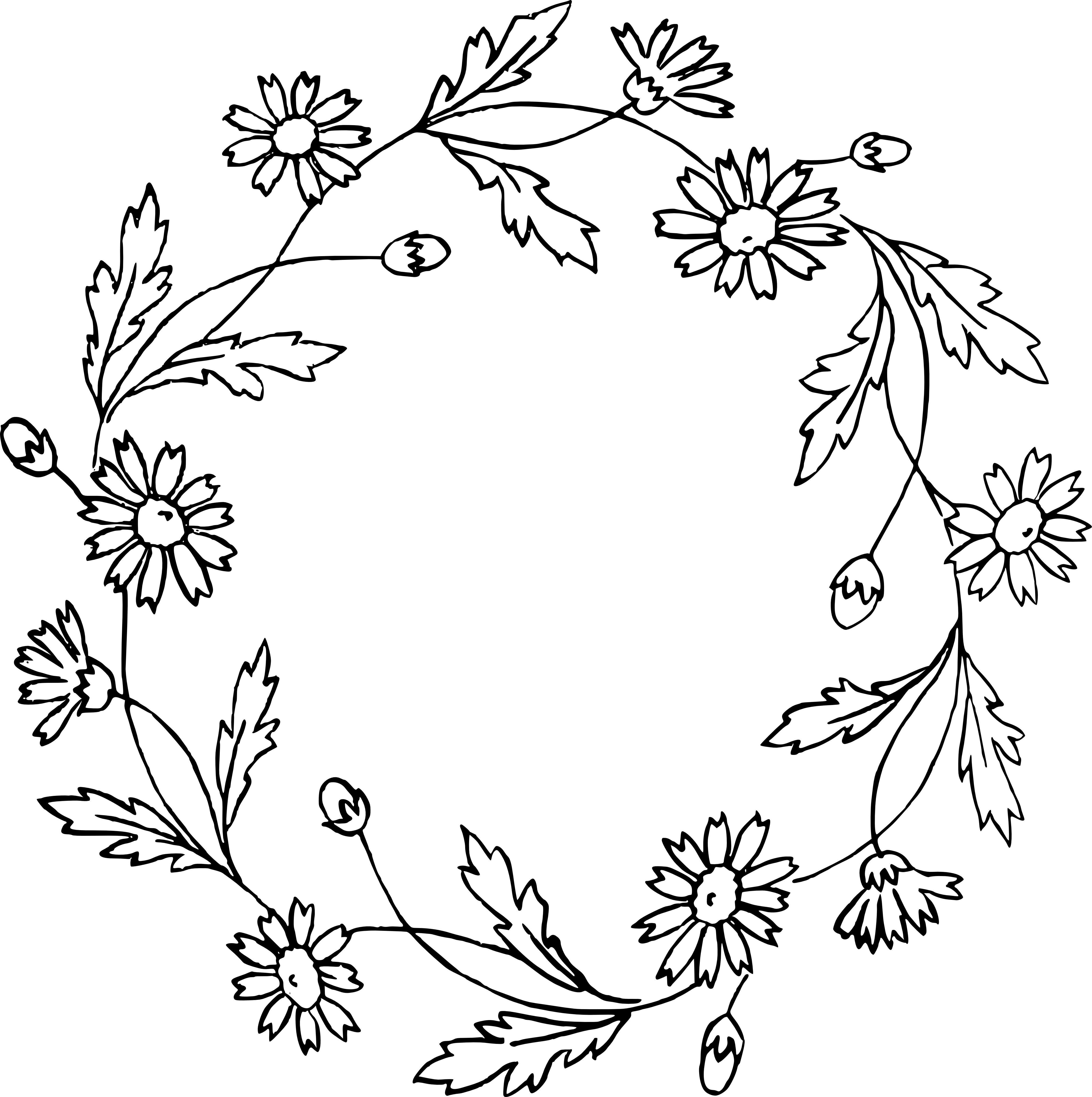 daisy flower cip art silhouette floral wreath clip art vector images 4686 4707 [ 4686 x 4707 Pixel ]