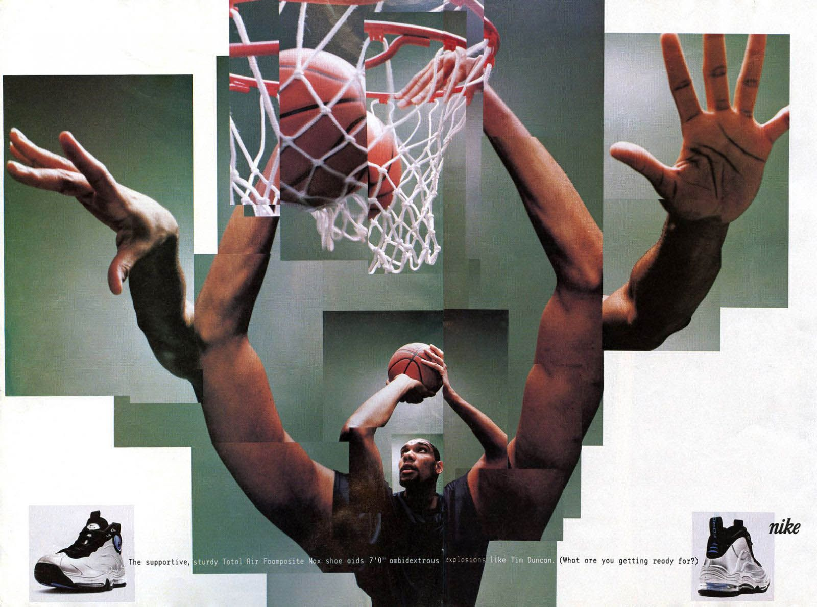 Vintage Ad Tim Duncan And The Nike Total Air Foamposite Max Nike Ad Nike Poster Vintage Ads