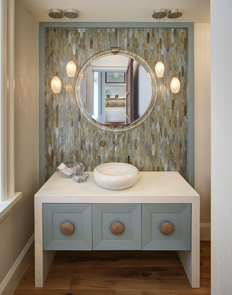 Charming Http://selected Jewels.info/coastal Bathroom Mirrors/coastal Bathroom  Mirrorskeystone Tile Powder Room Beach Style With Coastal Decor Gold  Bathroom Sink  ...