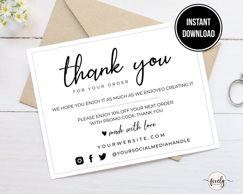 Printable Business Card Thank You Template Etsy Seller Thank Etsy In 2021 Printable Thank You Cards Thank You Cards Printable Business Cards