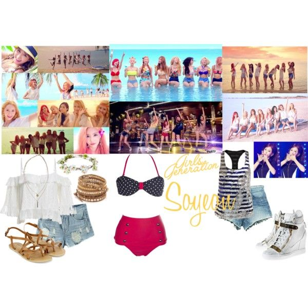 Girls' Generation - Party by soyeonsnsd on Polyvore featuring polyvore fashion style Ashish GUESS Giuseppe Zanotti Accessorize Chan Luu Boohoo