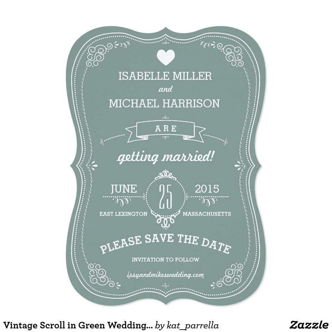 Vintage Scroll in Green Wedding Save the Date | Zazzle.com#date #green #save #scroll #vintage #wedding #zazzlecom