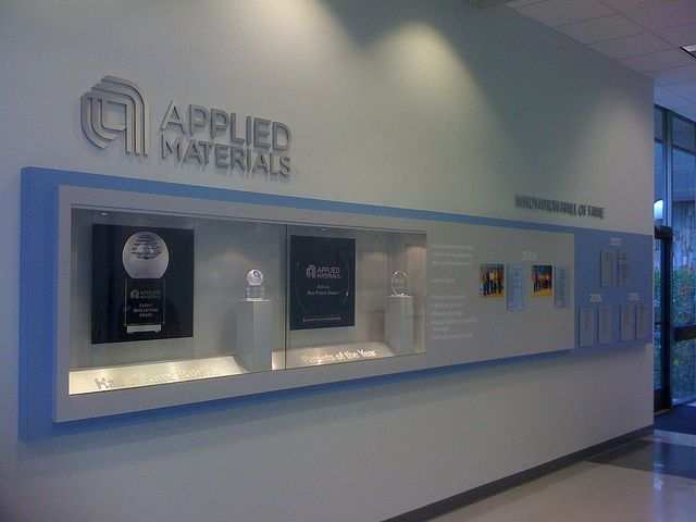 office display cases. Applied Materials Custom History Wall Showcase Featuring Built In Display Cases, 3 Dimensional Aluminum Graphics Office Cases