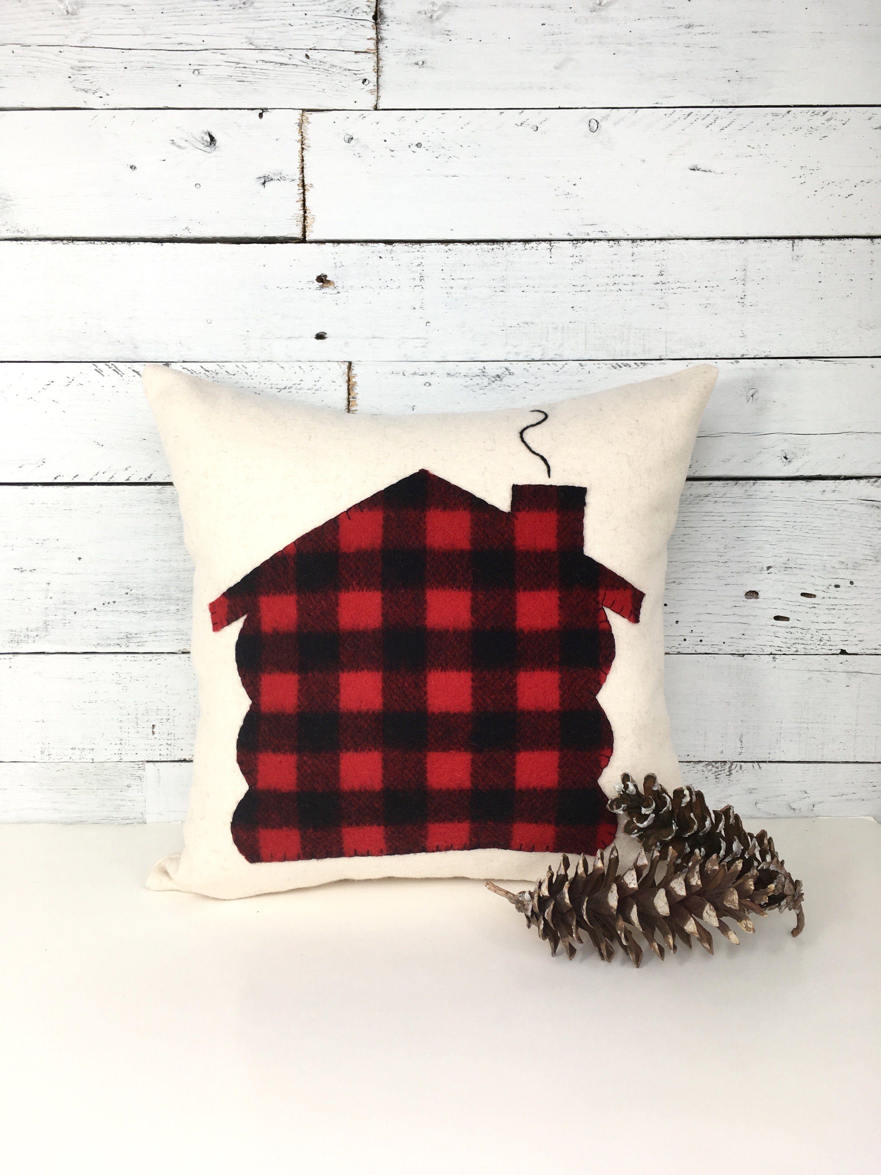 Log cabin christmas buffalo plaid pillow christmas home