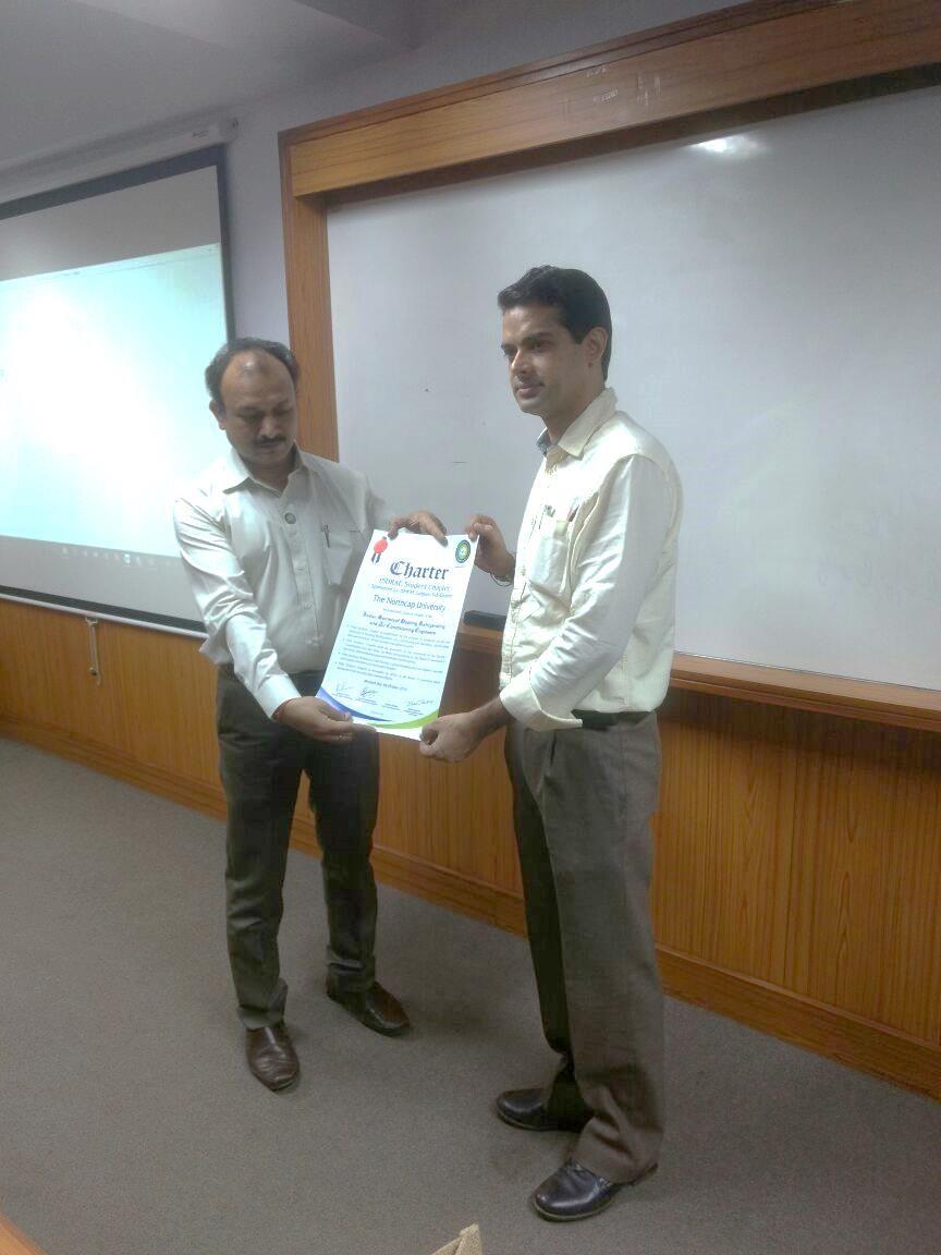 On 5 October, the Department of ME invited Mr Dhiraj Rastogi, President of ISHRAE Sub-Chapter Gurgaon for establishing its Student Chapter in NCU.