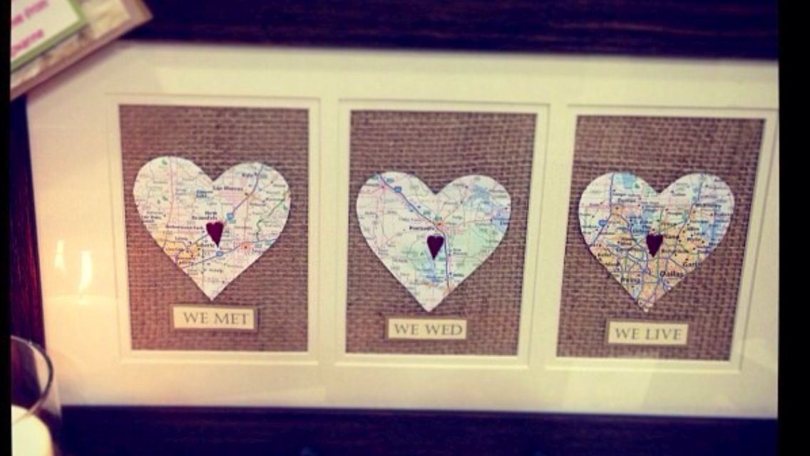 Wedding Frame Heart Maps Of Where Quot We Met Quot Quot We Wed Quot And Where Quot We Live Quot On Burlap I Made
