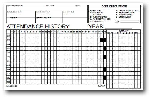Employee Attendance Tracker - 50 Per Pack Keep accurate records of - employee attendance sheet template free