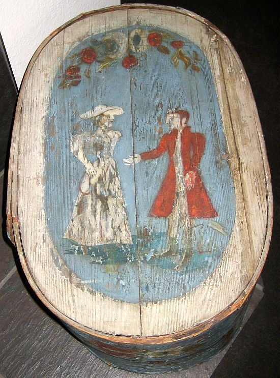 Antique early European Band Toile Painted Brides Box.