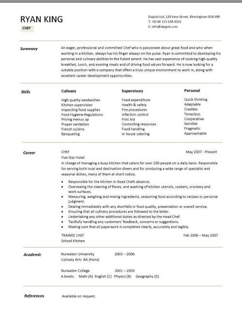 Culinary Resume Cooking Cover Letter Cook Skills Professional Sample