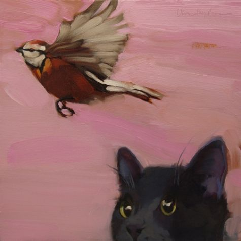 Image result for cat bird paintings