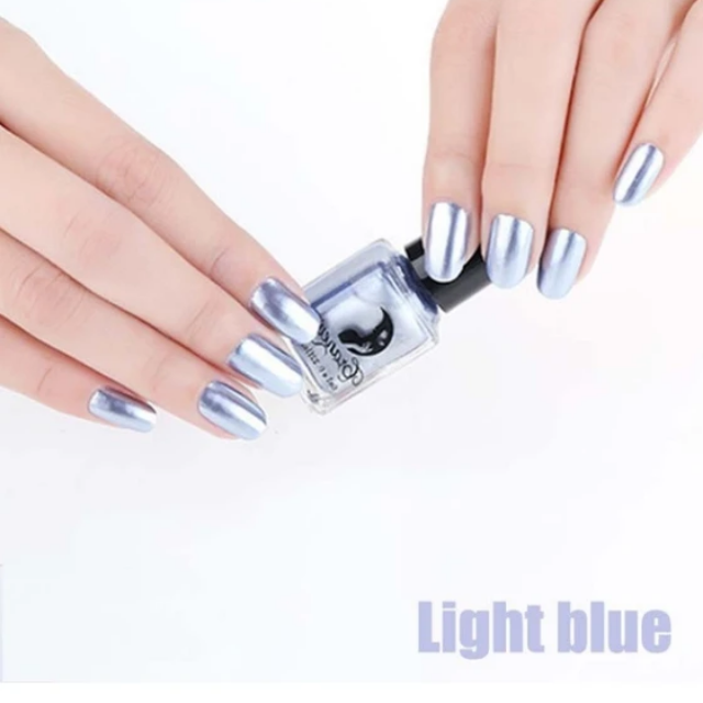 Mirror Chrome Nail Polish, Light Blue
