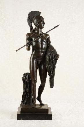Bronze Nude Male Greek Warrior Statue Figurine Homer