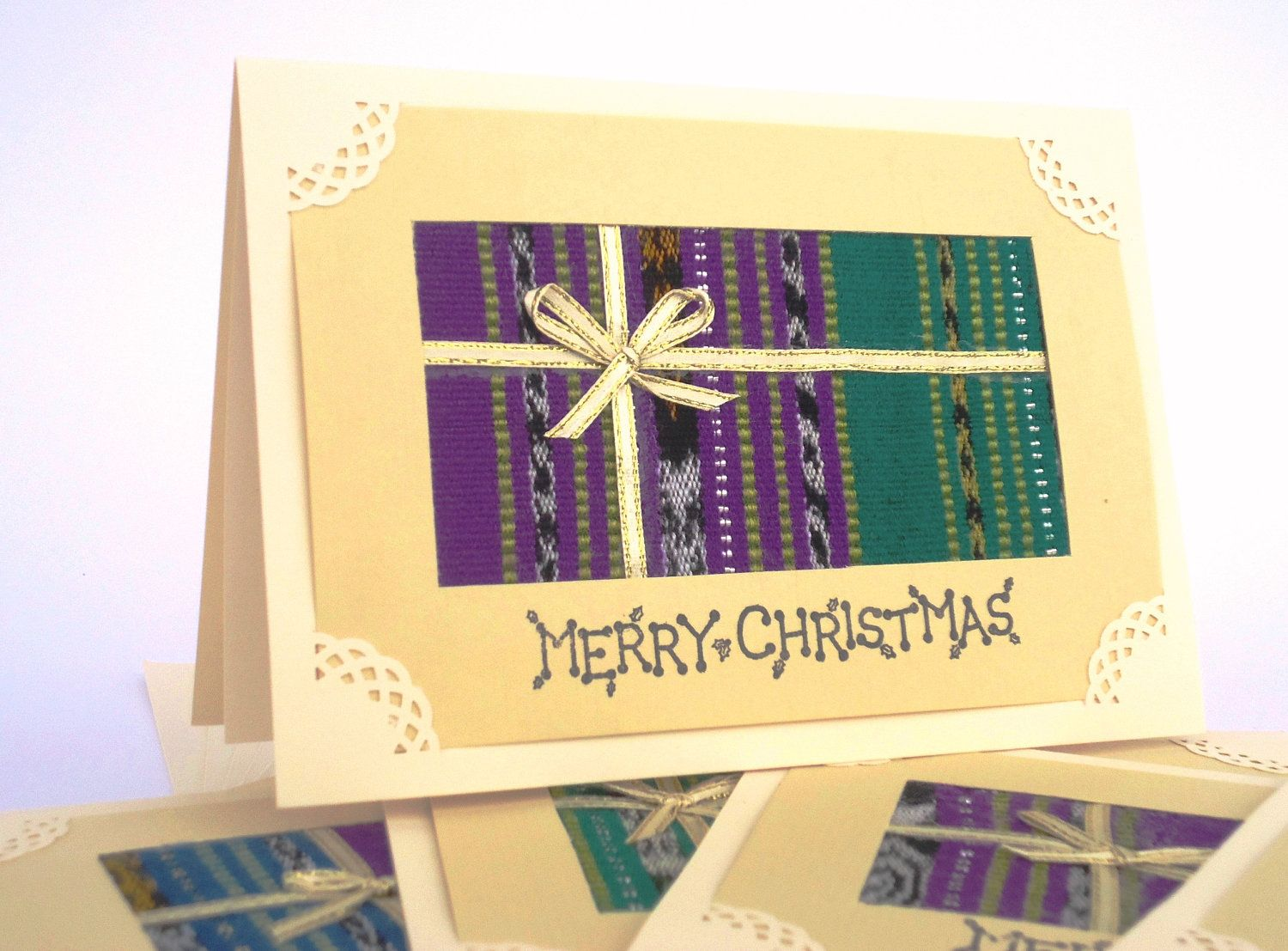 Set of 6 gold bow christmas cards made with jewel tones upcycled set of 6 gold bow christmas cards made with jewel tones upcycled guatemalan fabric all profits go towards providing employment for women and medicine for a m4hsunfo