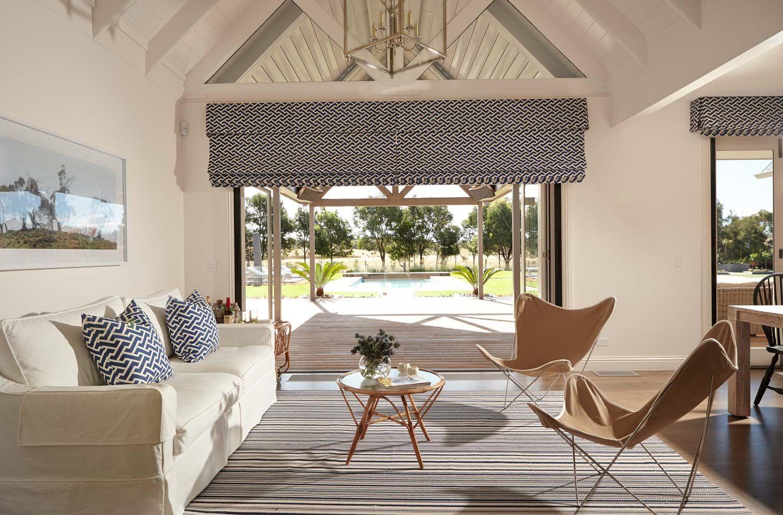 Diane Bergeron Interiors Beach House Living Room White Linen