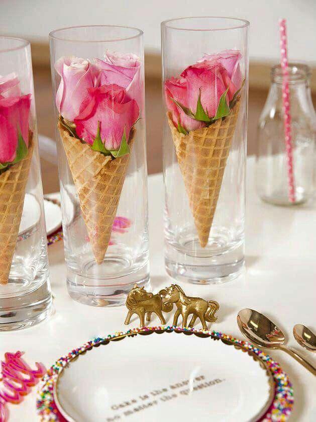 Mariage Table Theme Gourmandise Cones De Glace Avec Boutons De