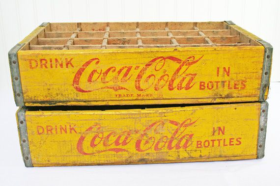 Vintage Wood Crate Coke Crate Industrial Storage Wood Storage