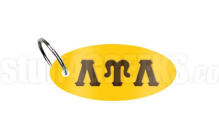Lambda Upsilon Lambda key chain with reflective gold background and brown Greek letters.