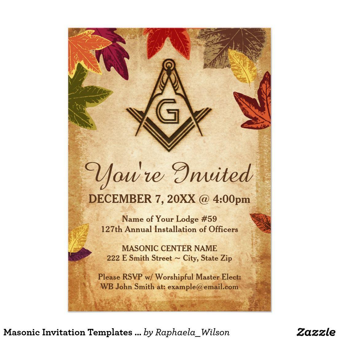 Masonic Invitation Templates | Autumn Leaves | Custom Masonic Gifts ...