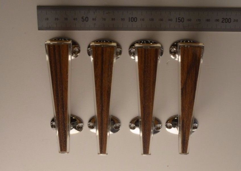 Ref 5 Four original Wilbec Lucite Door Handles Light Wood effect //chrome 1960s