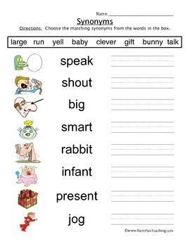 Synonyms Worksheet | Synonym worksheet, Have fun teaching ...