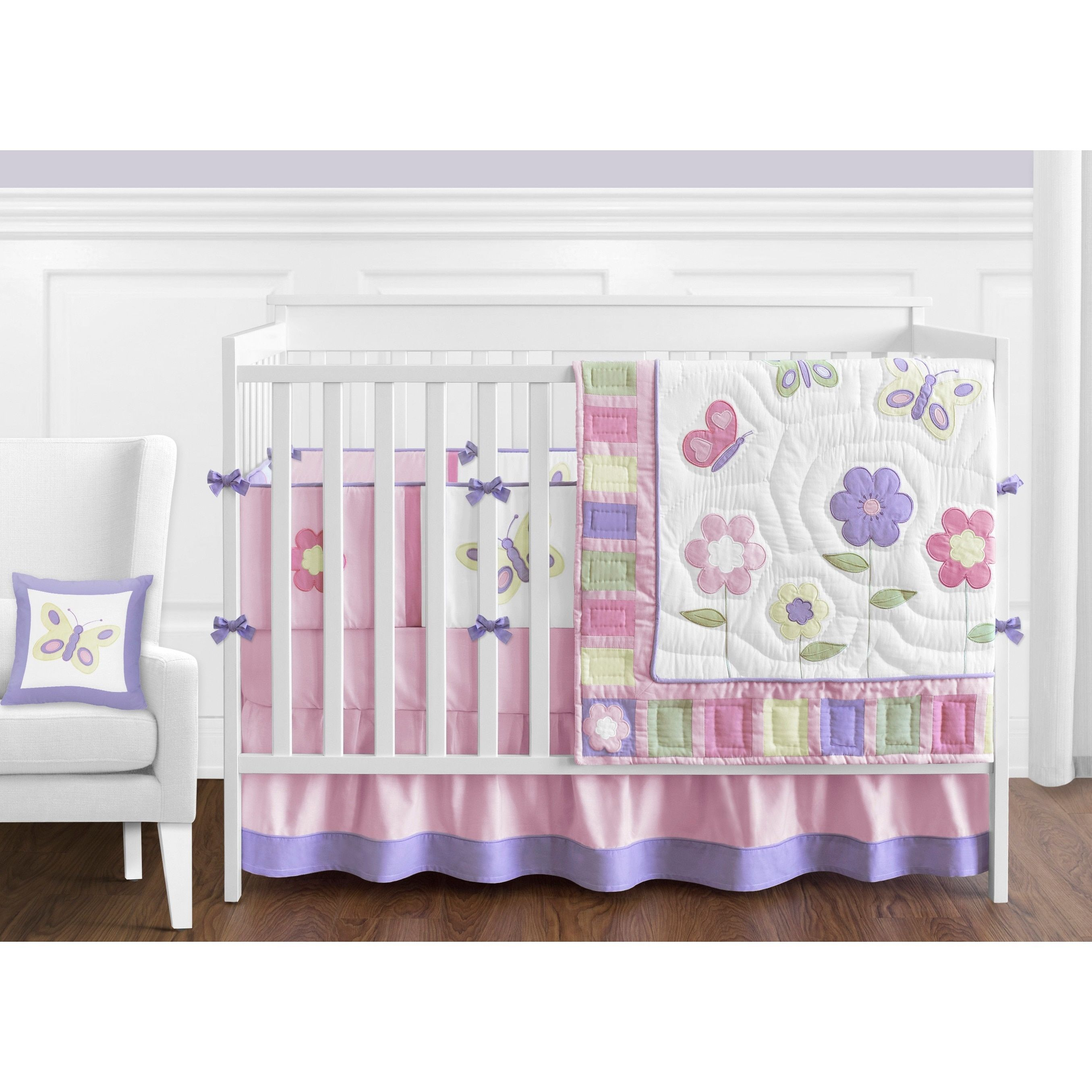 Sweet Jojo Designs Butterfly 9 Piece Crib Bedding Set, Purple