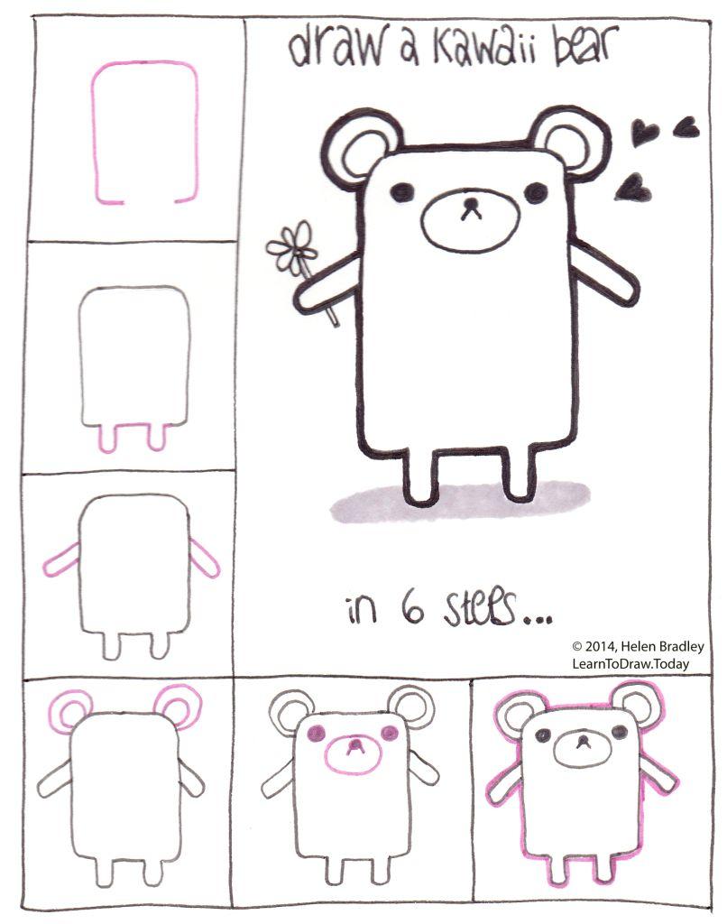 Draw A Kawaii Teddy Bear Step By Step Dessin Kawaii Kawaii Exercices De Dessin