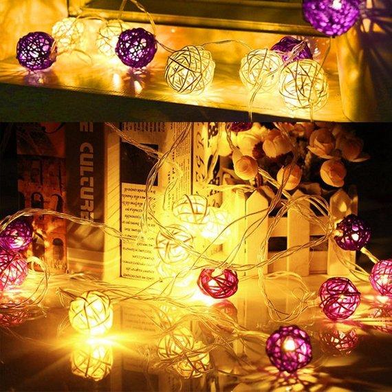 20 LED Rattan String Lights Rattan Ball Lights Christmas Lights