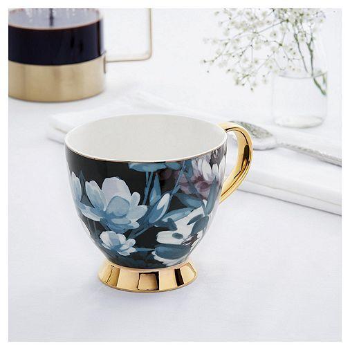 fox ivy teal large floral footed mug kitchen inspo in. Black Bedroom Furniture Sets. Home Design Ideas