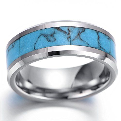 Kstyle Jewelry Mens tungsten Ring, Vintage, Silver, Comfort Fit, Turquoise KR2272 (8). Material: tungsten. SIZE:8-11, W: 7mm. 30 Days Money Back Guaranteed. Come With Gift Bag.