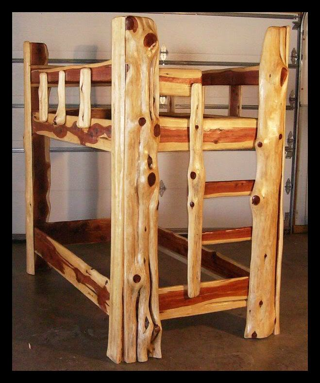 Rustic Ranch Furniture: Log Bunk Beds Cedar Rustic - Timber Ranch