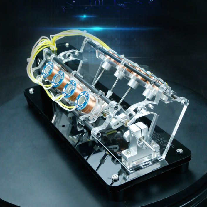 Magnetic Multi Coil Car Engine V Model Led Light Hall Effect Reciprocating Electromagnetic Motor