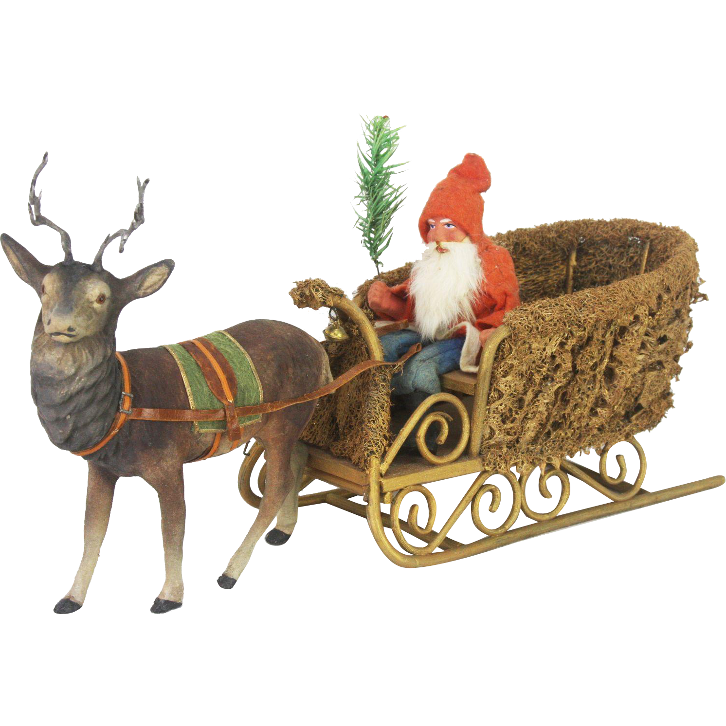 Antique German Santa In Loofah Sleigh With Candy Container Reindeer