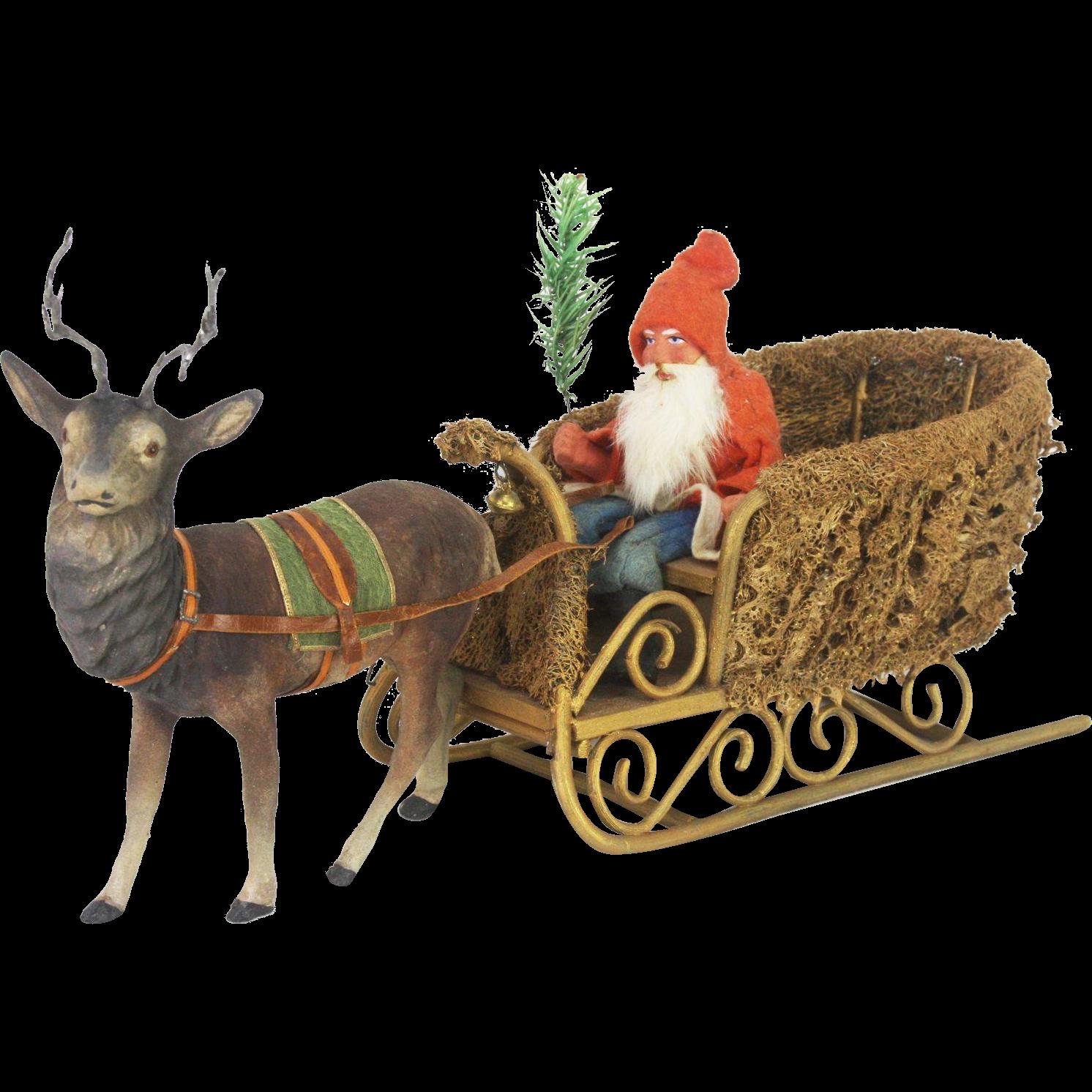 christmas santa sleigh reindeer decoration
