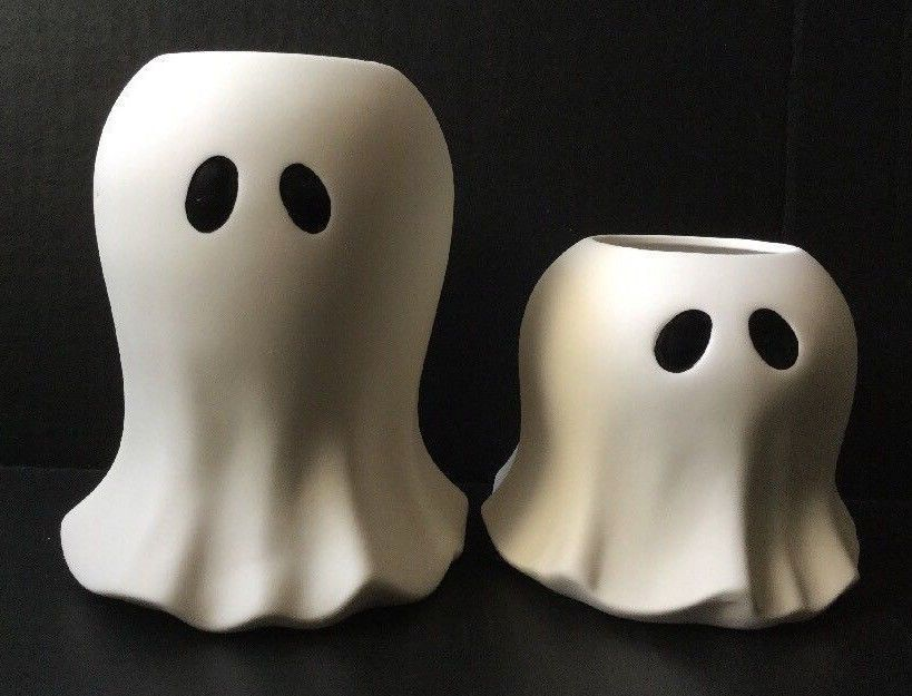 Yankee Candle GHOST Tea Light Holders Large /& Small Set White Halloween New