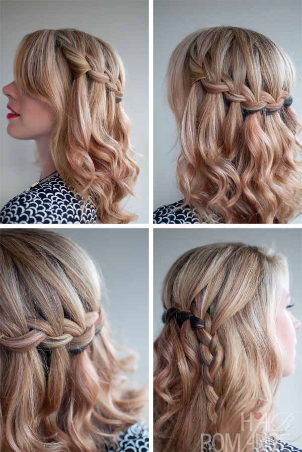 School Hairstyle Ideas: The Waterfall Braid - Beautiful Half Up ...