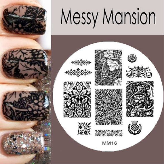 Nail Art Stamping Image Plate Mm16 William Morris By Messymansion