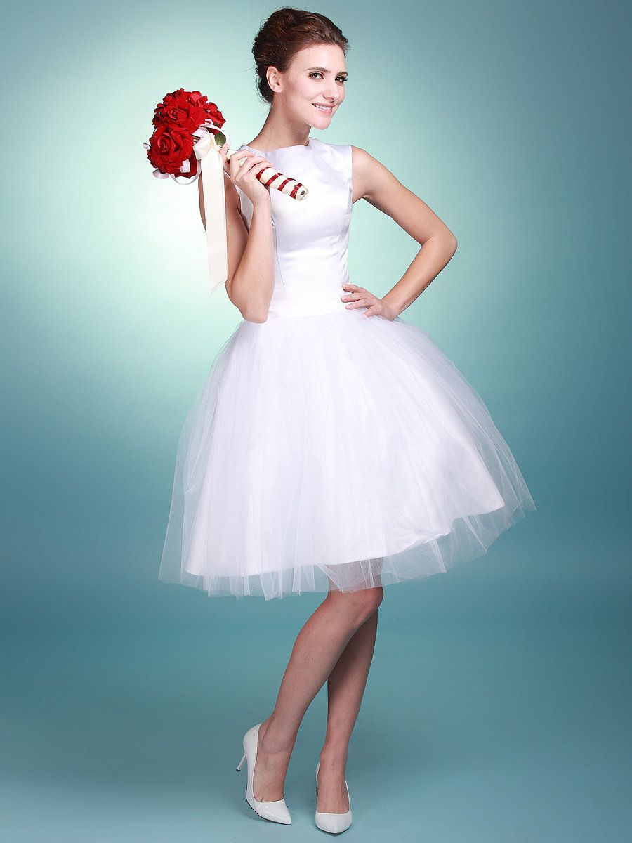 Boat Neck Satin and Tulle Gown; Color: Bright White; Sizes Available ...